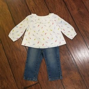 Baby Gap feather top outfit